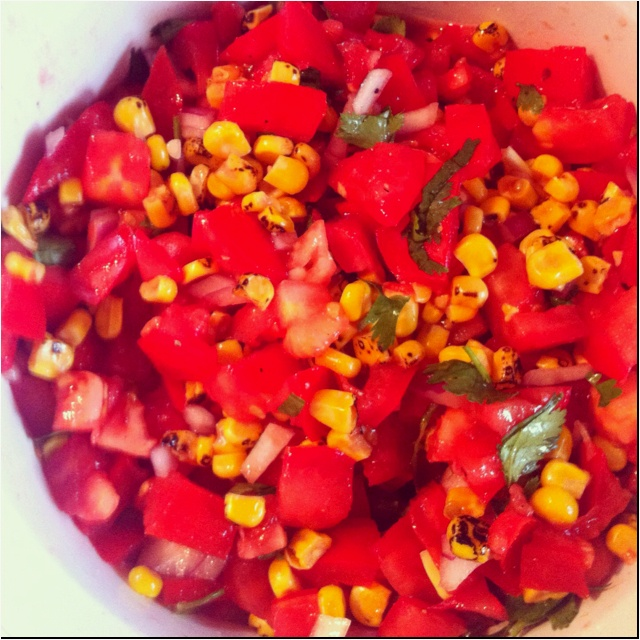 Roasted corn and tomato salsa- my own! | Food Fun | Pinterest