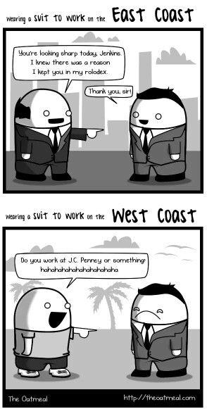 East coast vs west coast memes pinterest