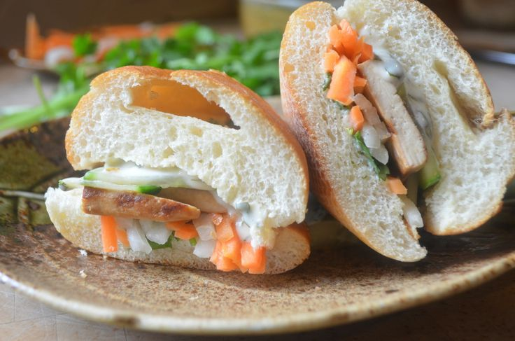 Lemongrass Tofu Banh Mi (Vietnamese Sandwich) with Cilantro Mayonnaise