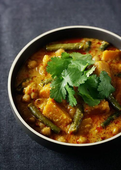 // Pumpkin, chickpea, lemongrass curry.