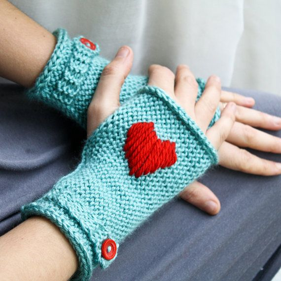 Rightie or Leftie Handwarmers - Fingerless Mitts with Button Strap - Aqua and Red