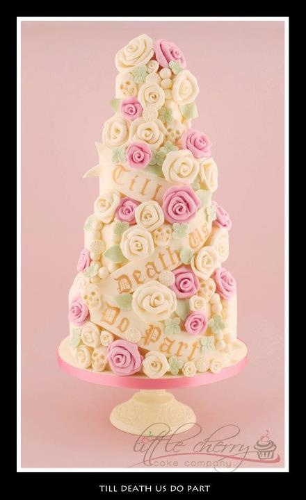 Til Death Do Us Part, Roses & Skulls wedding cake <3