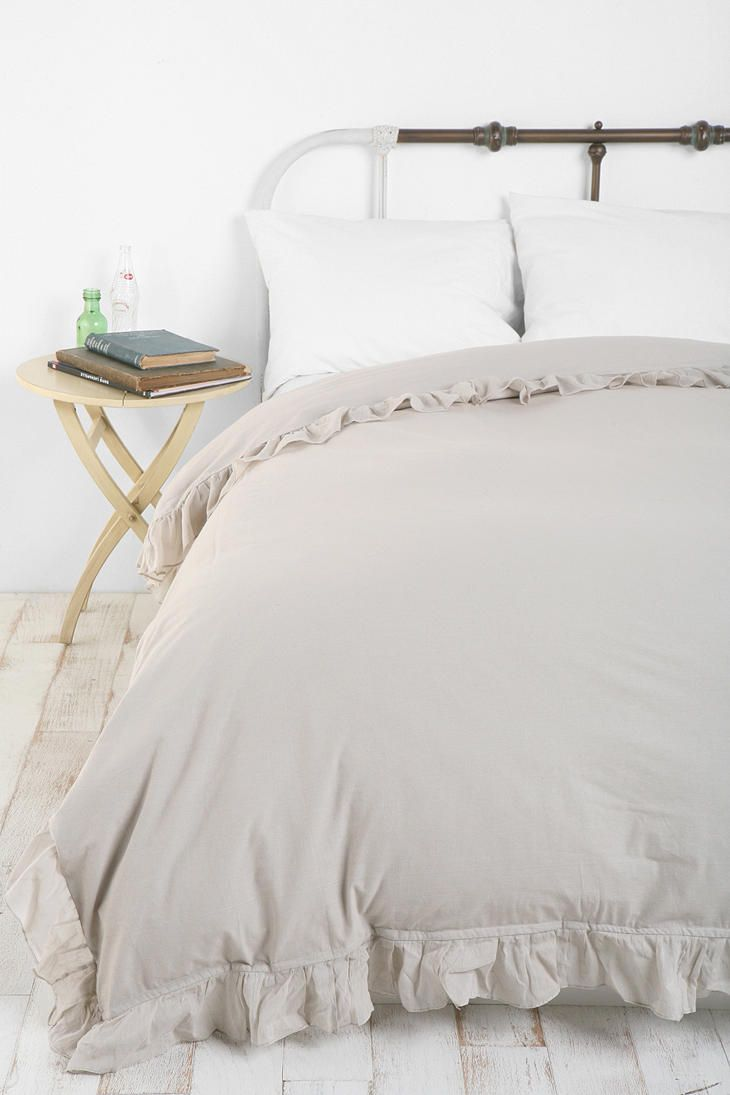 Solid edge ruffle duvet cover home decor pinterest for Frilly bedspreads