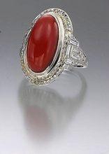 Exquisite Art Deco Coral Diamond and Platinum Ring
