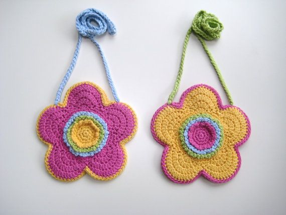 Crochet Girl Bag : INSTANT DOWNLOAD Crochet PDF Pattern Flower-shaped girls bag,purse ...