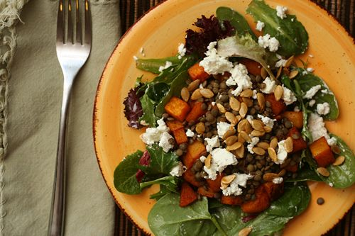 lentil salad with squash and goat cheese | Salads | Pinterest