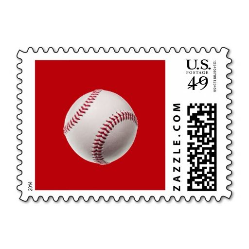 Baseball - Sports Template Baseballs on Red Postage. Make your own ...