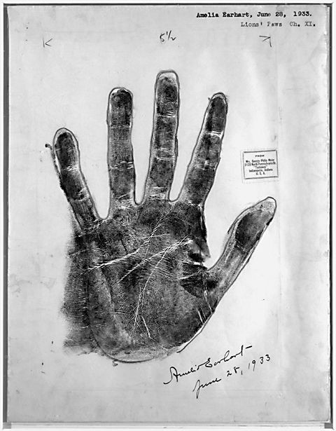 A photostat of Amelia Earhart's hand, made by a palmist in 1933, 4 years before her disappearance.