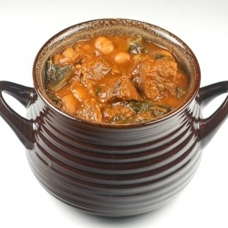 Spicy Beef Stew with Kale and Pinto Beans.