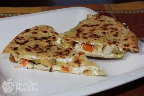 Goat Cheese, Chicken & Veggie Quesadilla