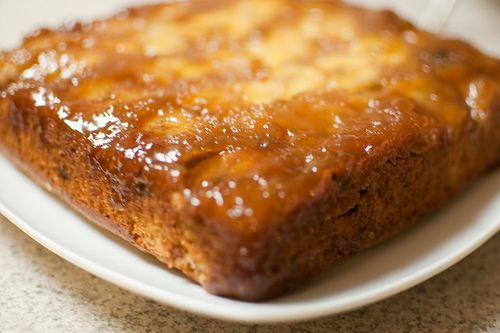 Banana chocolate chip upside down cake. Healthier version.