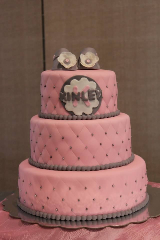 pink and gray baby shower cake cake ideas pinterest