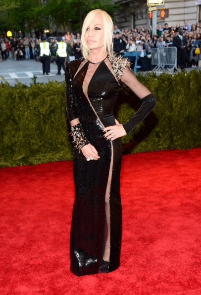 Donatella Versace punk style in Versace at the Met Gala 2013