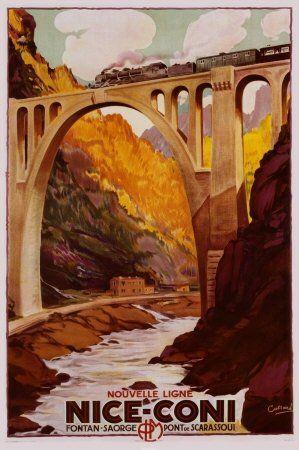 Vintage train travel poster nice coni vintage travel for Vintage train posters