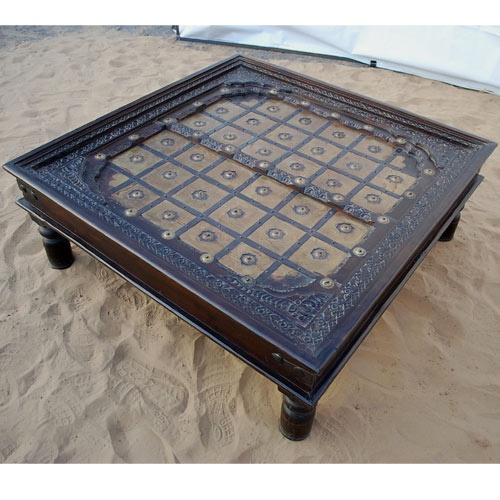 Golden Palace Espresso Distressed Square Coffee Table