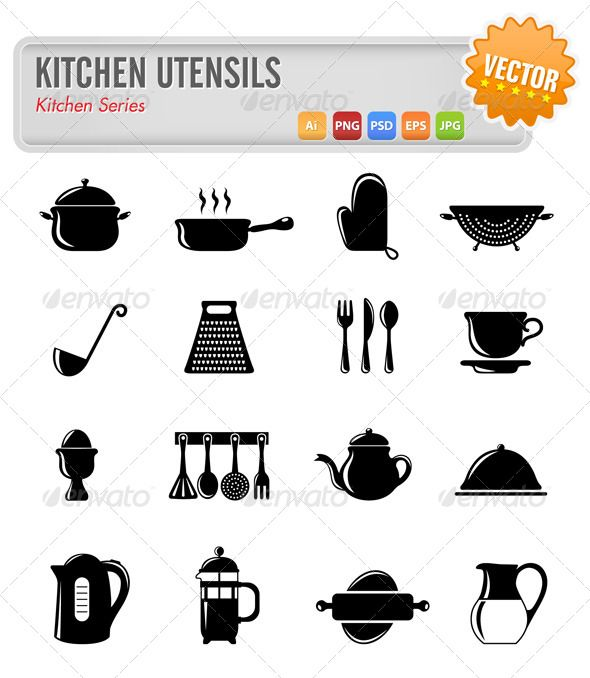 Sketches Of Modern Kitchen Utensils : Kitchen Utensils Vector #GraphicRiver Vector set of kitchen utensils ...