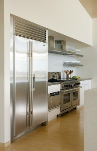 Stainless shelves match the appliances | Kitchen | Pinterest