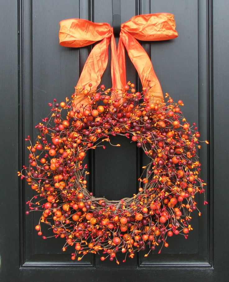 Fall wreath harvested berries autumn decorations Fall autumn door wreaths