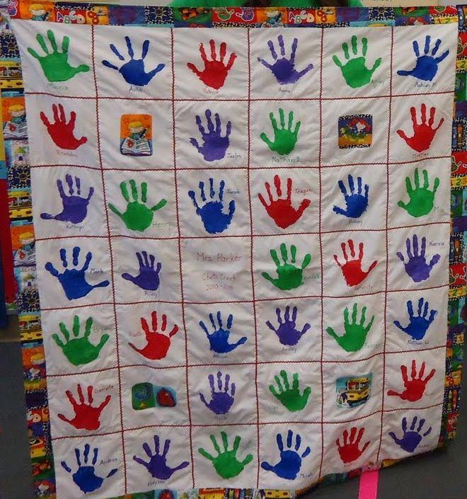 Classroom Quilt Ideas : Teacher gift handprint quilt quilts pinterest