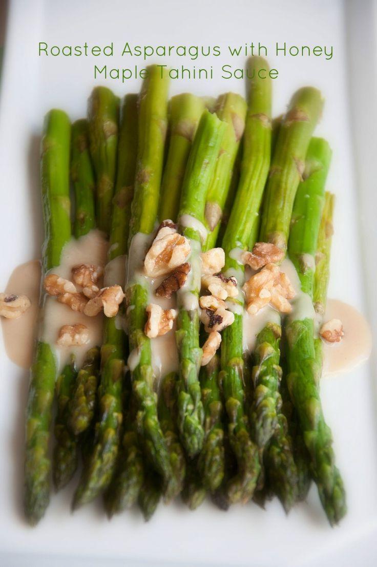 Roasted Asparagus with Honey Maple Tahini Sauce | Recipe