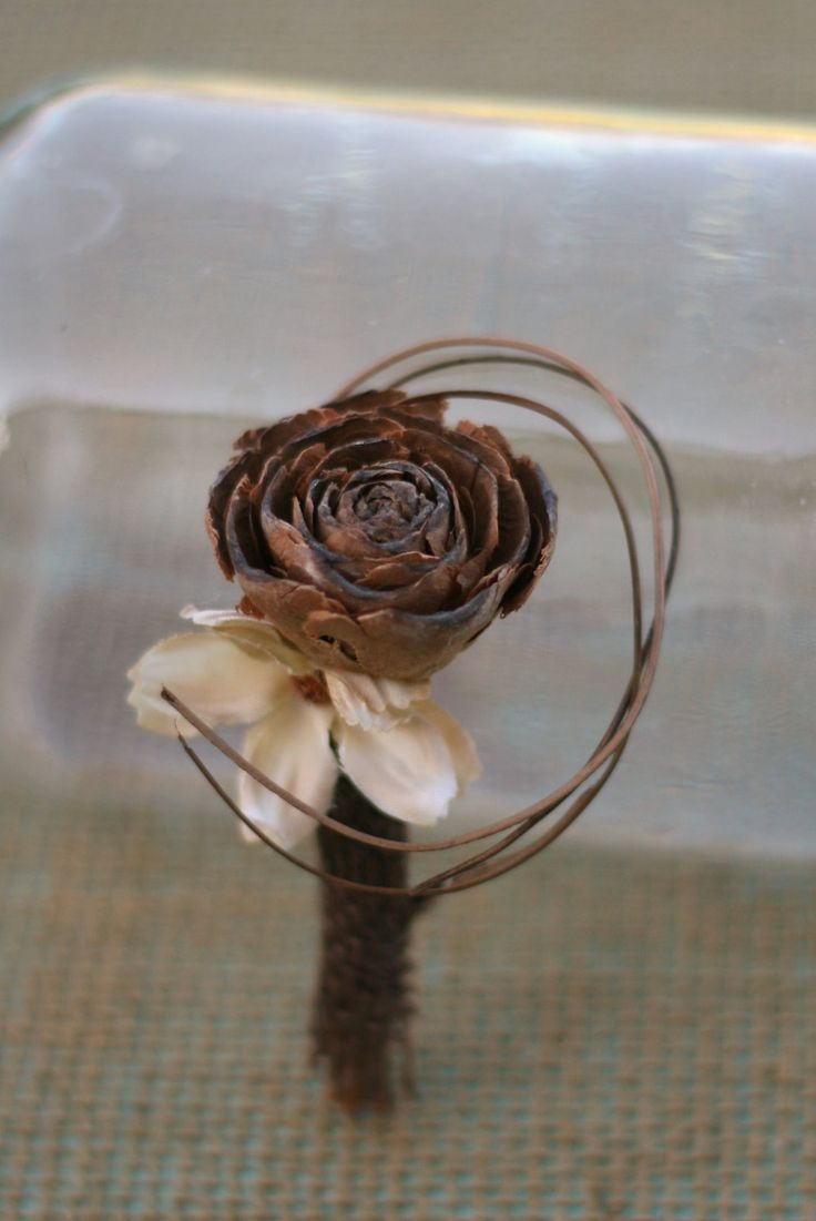 Natural Vintage Inspired Pine Cone Rose Wedding Pin Boutonniere Groom Groomsmen Natural Wood Twists Rustic CHIC weddings by Morgann Hill. $16.50, via Etsy.