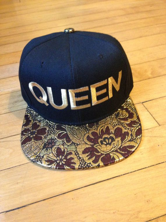 QUEEN Snapback Hat Metallic Floral Snakeskin by trucksandpearls, $30.00