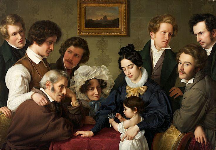 Collective portrait, painted by Edward Bendemann (1811-1889), Theodor Hildebrandt (1804 - 1874), Julius Hübner Elder. (1806-1882), Wilhelm von Schadow (1788-1862) and Carl Ferdinand Sohn (1805-1867)  —   The Schadow Circle (The Bendemann family and their friends),  1830-1831, Art Galleries in Krefeld, Nordrhein Westfalen. Germany  (1500×1042)