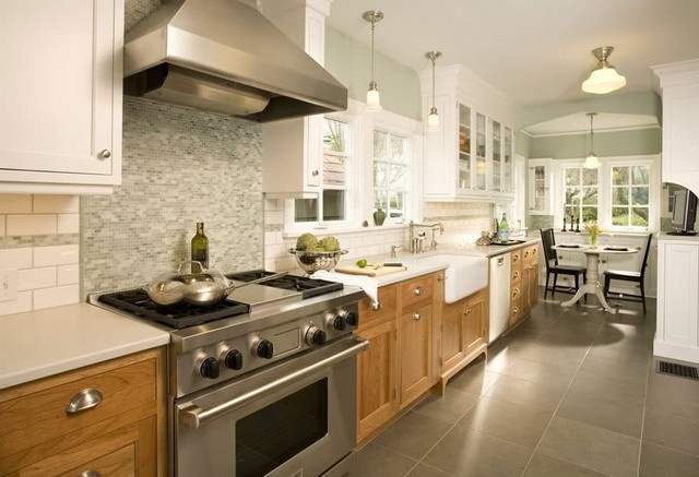 Two toned look with wood on bottom home remodeling ideas for Different kitchen designs