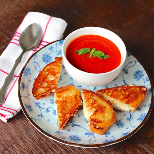 ... ricotta on garlic bread. Sweet, rich roasted tomato soup with basil
