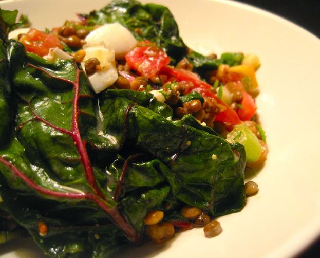 Chopped Lentil Salad with Swiss Chard, Tomato & Egg | Recipe