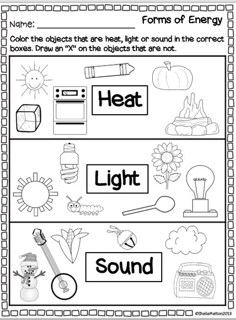 "Sound Energy For Kids Worksheet Forms of energy ""heat,"