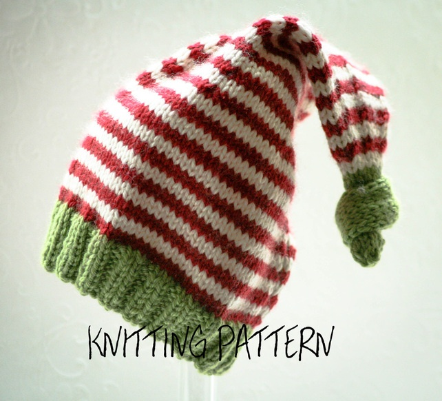 Christmas Child Knitting Patterns : Knitting Pattern - Baby Christmas Elf Hat - Double Knitting Weight
