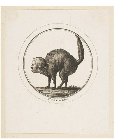 Etching, Comte de Provence as a Cat, French ca. 18th C.