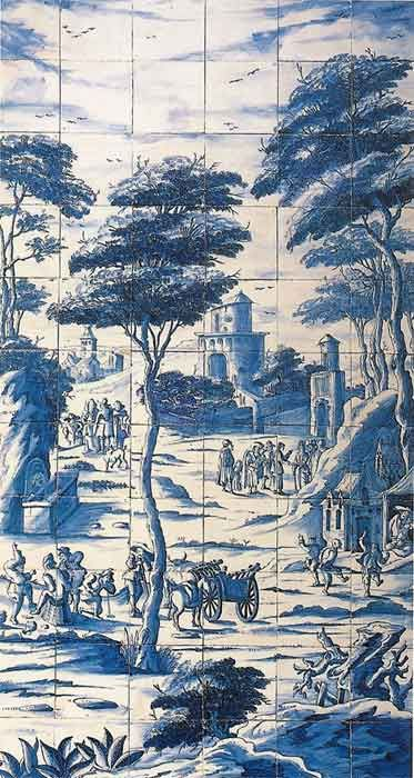 Rare pictorial panel of 66 tin-glazed earthenware tiles probably made in Lambeth, c1720-30. - Allen Gallery, Alton, Hants. We recommend a visit.