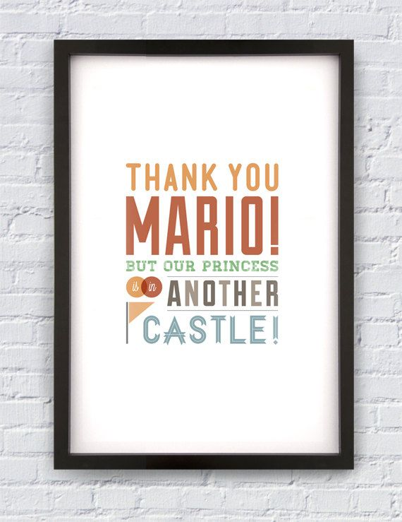 Super Mario Bros Video Game Quote Print 11X17 by Pixology on Etsy   20    Video Game Love Quotes