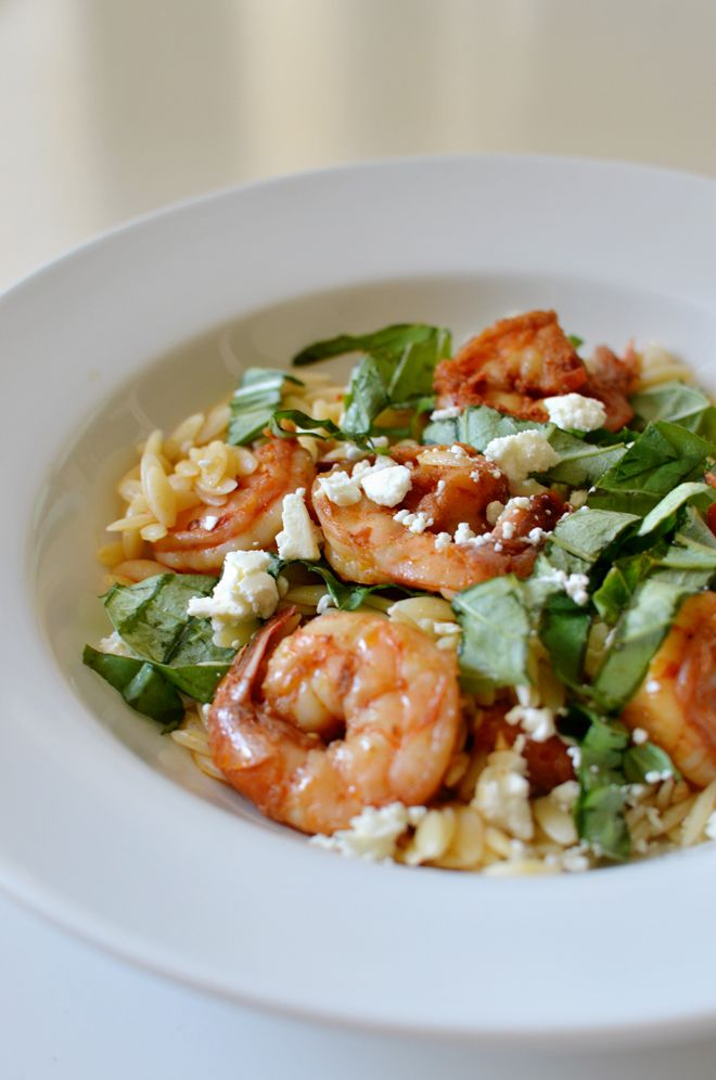 orzo with feta, basil, and shrimp | délicieux | Pinterest