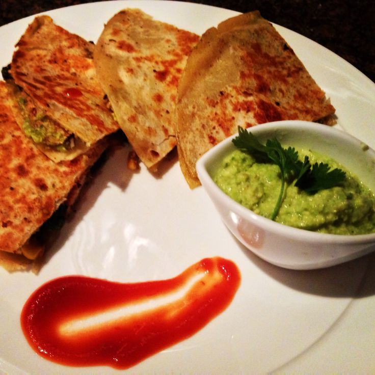 Indian Mexican fusion tandoori chicken quesadilla served with charred ...