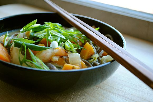 Miso Soup with Sweet Potato, Bok Choy, and Shrimp