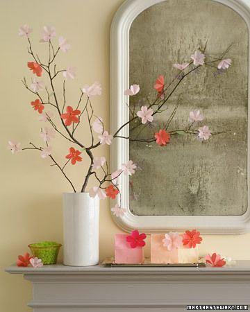 Paper Cherry Blossom Display DIY.  I love cherry blossoms.  I even have tattoos of them, so does my husband.  Anyone up for a drive to DC for the cherry blossom festival???