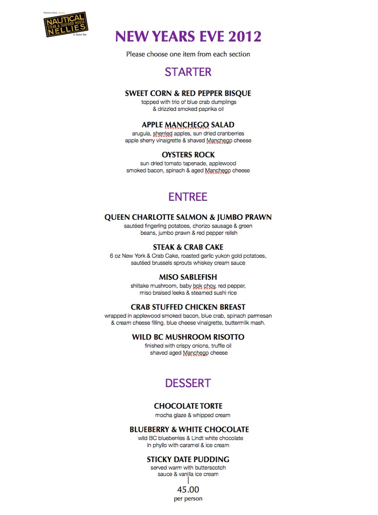 New Years Eve Menu Nyt 229 R Pinterest