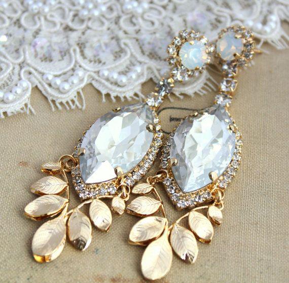Statement Chandelier Crystal earrings - 14k plated gold big Swarovski rhinestones earrings.