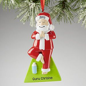 OMG this Yoga Santa Christmas Ornament is so cute!!!! Such a cute little gift to get your girlfriends or yoga instructor ... and they personalize it for you for free! #Yoga #Santa