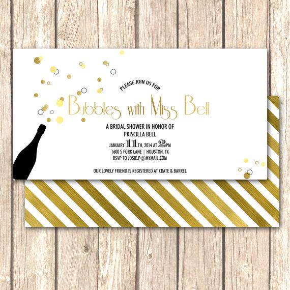 Champagne Bridal Shower Invitation-Bridal Brunch, Bridal Shower, Ready ...