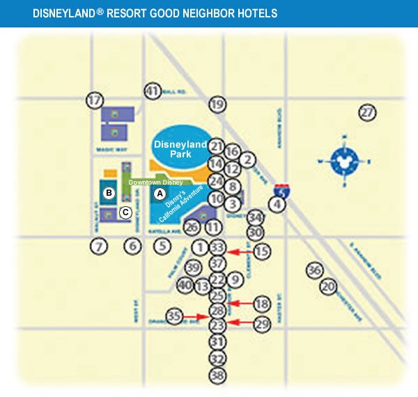 Good Neighbor Hotels Near Disneyland Map