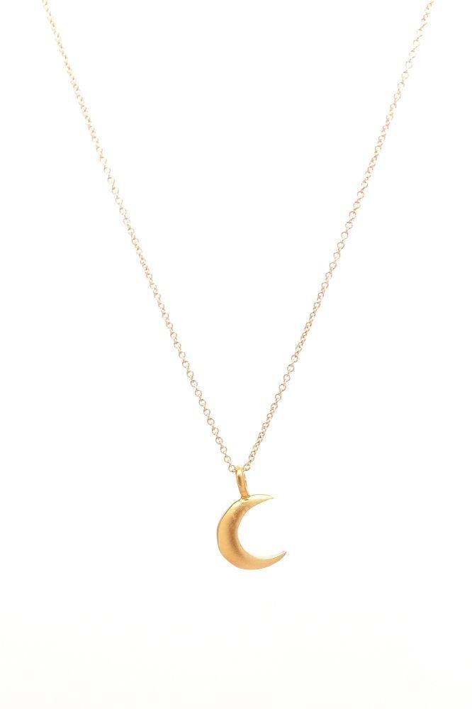 gold vermeil half moon charm necklace fashion i