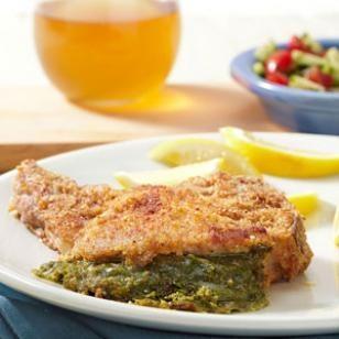 Pesto & Mozzarella Stuffed Pork Chops | Recipe