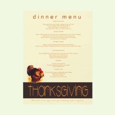 Thanksgiving turkey custom dinner menu for Traditional southern thanksgiving dinner menu