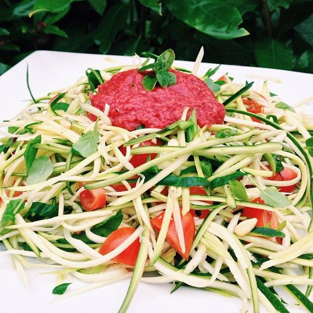 "Julienned zucchini ""spaghetti"", cherry tomatoes, spinach, collard ..."