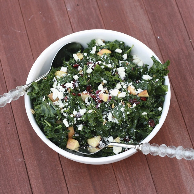 Kale Salad with Apples Cranberries and Feta--I think I might try this ...