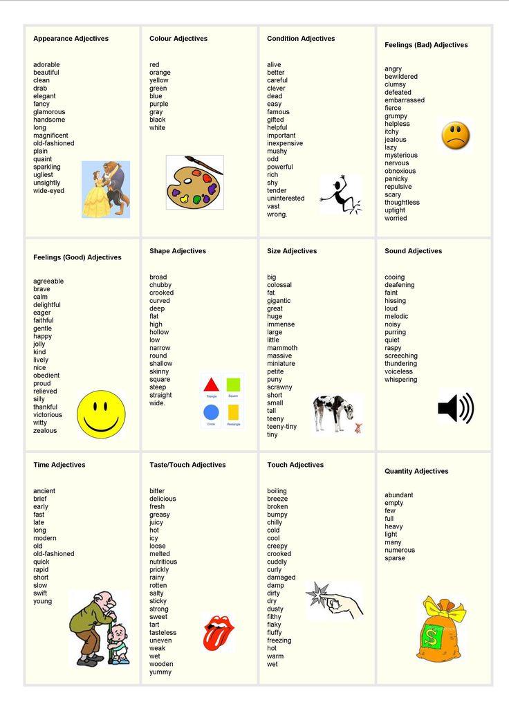 adjectives for descriptive writing pdf